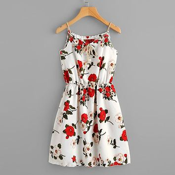2019 Summer Sexy Women Floral Printed Camis Bandage Hollow Out Elastic Waist Mini Dress vestidos vestido robe femme party