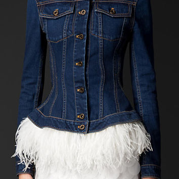 Wasp Waist Denim Jacket with Ostrich Feathers