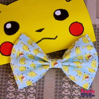 Pokemon Pikachu Hair bow or  Bow tie Handmade  Kawaii Gamer Bow