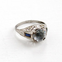 Antique Art Deco Silver Tone Rhinestone & Simulated Sapphire Ring- Vintage Size 5 3/4 Gray And Blue Glass Stone Filigree Costume Jewelry
