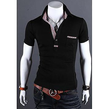 Men's Check Pattern Embellishment Slim POLO Shirt