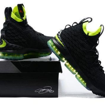 Nike Lebron 15 Xv Black  Fluorescent Green Shoe