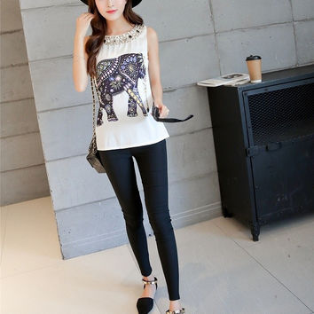 Fashion Ladies summer Elephant Print T shirt O-neck Beading short sleeve shirts casual brand tops
