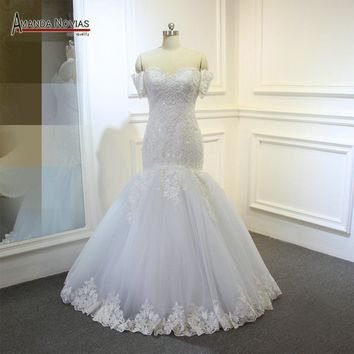 Real Sample Mermaid Pearl Patterns Wedding Dress with Detachable Sleeves