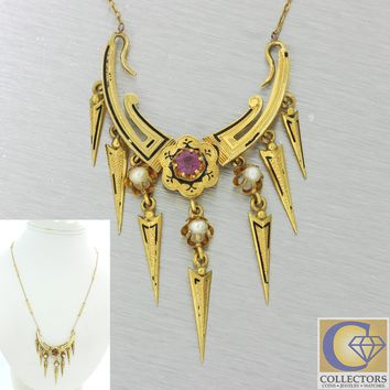 1880s Antique Victorian Etruscan Gothic Revival 18k Gold Ruby Necklace Pendant