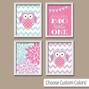Girl OWL Wall Art, Owl Decor Canvas or Prints Pink Purple Aqua, Baby Girl Nursery, Bedroom Pictures, Decor Set of 4 Flower Burst Pictures