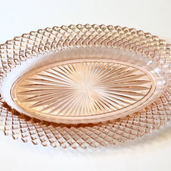Pink Depression Glass Oval Plate, Pink Miss America Plate Anchor Hocking