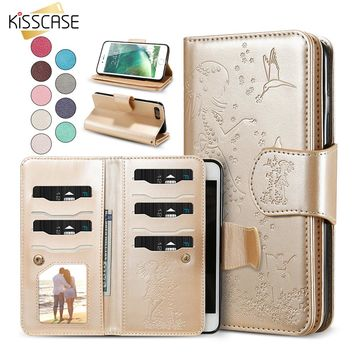 KISSCASE Wallet Phone Case For iPhone 6 7 6S 8 5 5S SE Women Leather Case Cover