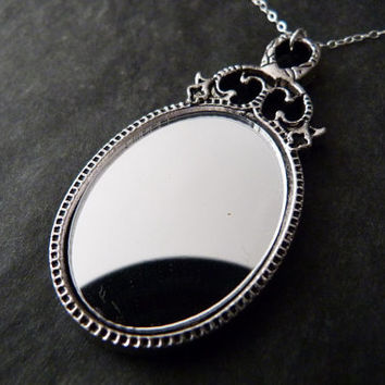 Real Mirror Necklace STERLING SILVER Romantic Jewelry Wedding Bridesmaids Gift
