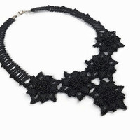 Crochet Black Seed Bead Statement Necklace,Black Flower Choker Necklace, Christmas Gift For Her