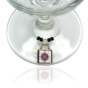 Compass Nautical North South East West Wine Glass Silver Charm