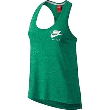 Nike Womens Gym Vintage Tank (Small, Spring Leaf Green/Sail)
