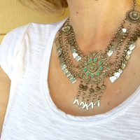 Bedouine Bib Necklace Ottoman Turquoise Tribal Ethnic Belly Dancer Jewelry