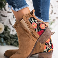 Phaedra Embroidered Booties (Camel)