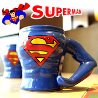 320ml Fun Superman Mug Creative Ceramic Super Man Coffee Cup Porcelain Tea Cup Zakka Tumbler For Office Children Friend Gift