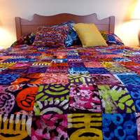 African Batik Patchwork Reversible Queen Duvet Cover
