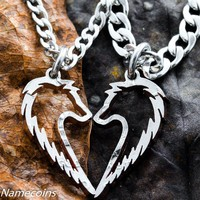 Tribal Wolf Necklaces, Couples Jewelry set