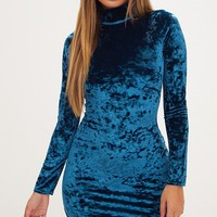 Teal Velvet High Neck Curved Hem Bodycon Dress