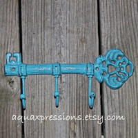 Cast Iron KEY Hook Hanger/ Turquoise Blue Wall Rack/ Bright Fun Elegant Skeleton Key Holder/ Cottage Shabby Chic Decor/ Distressed Metal