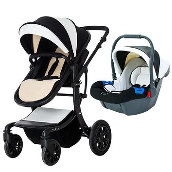 High quality 3 in 1baby Stroller Leather Baby Pram baby strollers 3 In 1 For newborn baby 0- 3 years send gifts