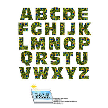 Alphabet Letters Uppercase Peacock Print Animals SLAP-STICKZ TM Laminated Wall Stickers