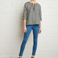 Plaid Lace-Up Shirt | Forever 21 - 2000141909