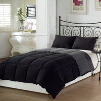 Chezmoi Collection 3-Piece Black Grey Super Soft Goose Down Alternative Reversible Comforter, Set King Size