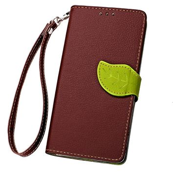 For Huawei P9 P9 Lite P9 Plus Luxury Leather Cover Flip Wallet Phone Case With Leaves Buckle And Lanyard Mobile Phone Shell