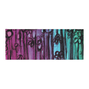 "Ebi Emporium ""Winter Garden - Ombre"" Purple Teal Bed Runner"