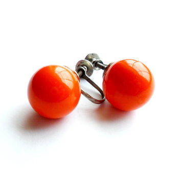 Vintage Orange Sphere Earrings Screw Back Ball Stud Neon Colors Bright Summer Pinup Retro Style Silver Tone Metal 1950s