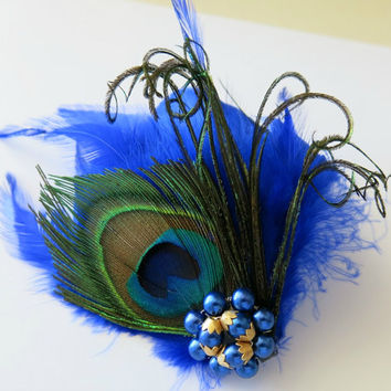 Peacock Bridal Wedding Bridesmaid Feather Hair Accessory, Feather Fascinator, Bridal Hair Piece, Royal Blue, Blue Feather, Hair Clip