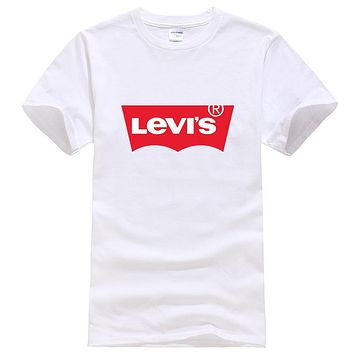 Levis Summer New Fashion Bust Letter Print Women Men Leisure Top T-Shirt White