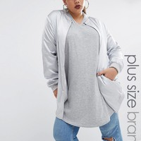Missguided Plus Longline Zip Through Bomber Jacket