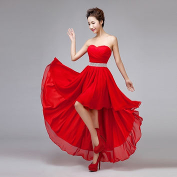 Sexy Strapless Asymmetrical Chiffon Evening Dress 2015 New Fashion Bride Wedding Party Dress Sweet Bridesmaid Dress = 1930077764