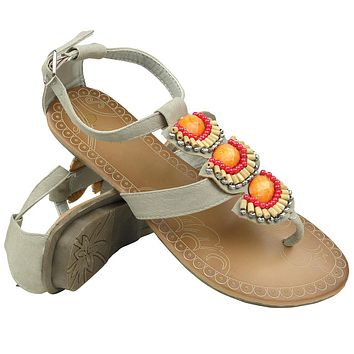 Womens Flat Sandals T-Strap Tribal Color Beaded Adjustable Ankle Strap Gray