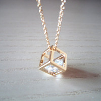 gold necklace Square simple gold necklace sweet by Viviens on Etsy
