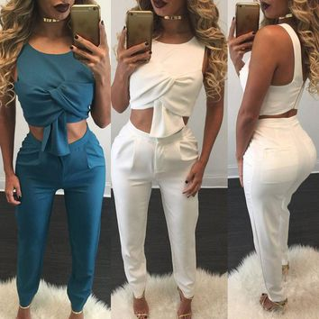 Women Sleeveless Bodycon  Crop Top Long Pants Set