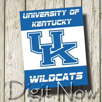 KENTUCKY WILDCATS Sports Team Signs Blue White Art Printable Instant Download Home Decor ST001