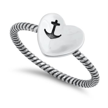 Ladies Anchor Heart Ring Size 4-10 in .925 Sterling Silver Rope Band
