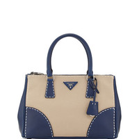 Prada City Stitch Tote Bag, White/Navy (Corda+Navy)