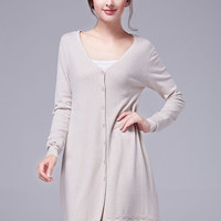 Apricot Knitted Cardigan with Side Slits