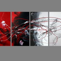 Abstract art canvas painting  black red white . Wall art paintings