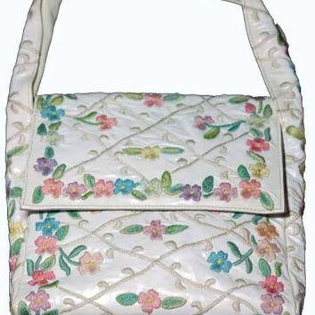 Vintage Marketa White Floral Embroidered Handbag 1950S