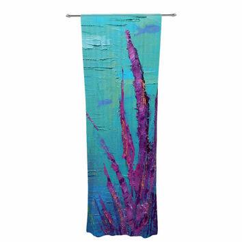 "Carol Schiff ""Key Largo Coral Reef"" Teal Purple Painting Decorative Sheer Curtain"
