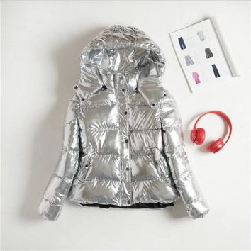 Hooded Glossy Women Down Jacket 2017 Big Size Long Sleeve Casual Coat Solid Keep Warm Overcoat Fashion Clothing