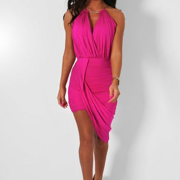 Harmonia Fuchsia Gathered Drape Mini Dress | Pink Boutique