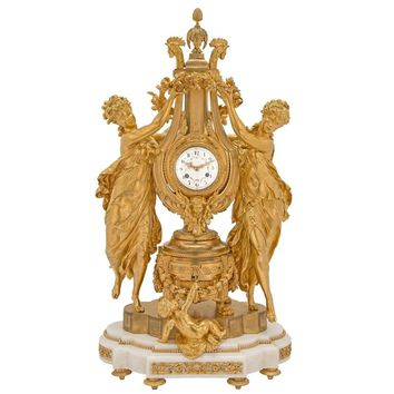 French 19th Century Louis XVI Style Finely Chased Ormolu and Marble Clock