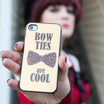 Doctor Who inspired plastic iPhone 4 Case iphone 4s Cover - Gold Bowties are cool