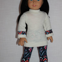 ivory sleeve shirt with trim, tribal print leggings,18 inch doll clothes, American Girl, Maplelea