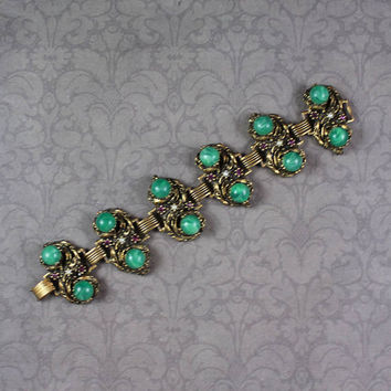 Vintage Swirling Green Glass Cabochon, Amethyst Rhinestone and Faux Pearl Gold Tone  Linked Bracelet